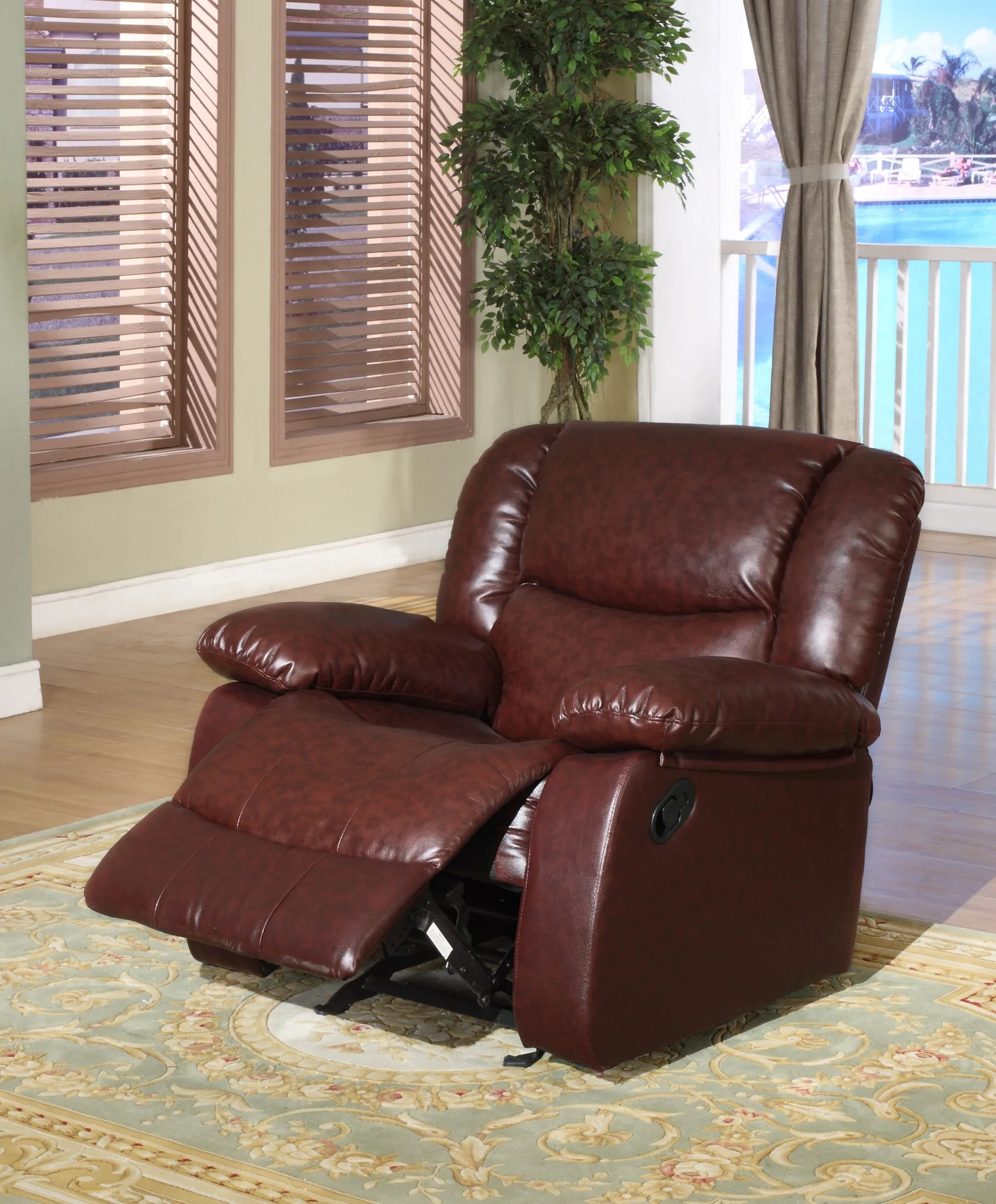 brooklyn bonded leather lounger chair and ottoman christmas high covers black chocolate merlot or putty upholstered microfiber transitional configurable motion