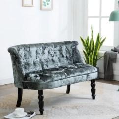 Living Room Settee Benches Painting Your Subfloor Zane Upholstered Bench Gray Velvet Button Black Wood