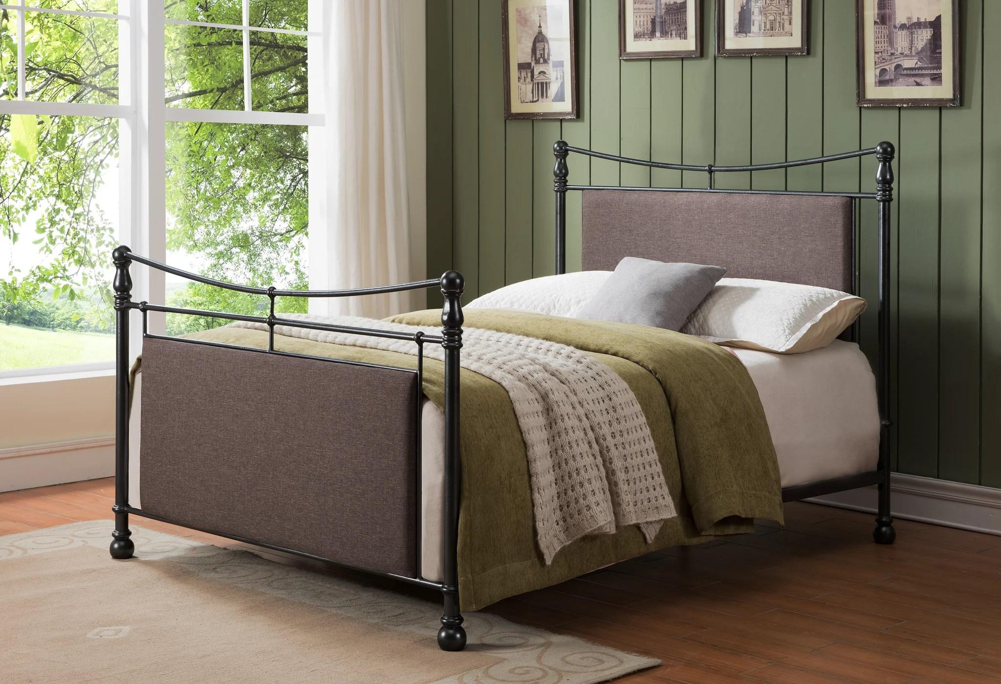 Warren Pewter Brown Upholstered Fabric Metal Bed
