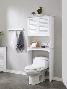 Trevita Freestanding Over The Toilet Bathroom Space Saver Organizer With Storage Cabinet Adjustable Shelf Open Shelf White Wood Contemporary Pilaster Designs