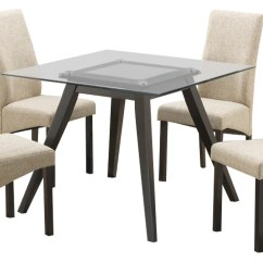 Kitchen Dining Chairs Unfinished Cabinet Doors Home Depot Pyke Set 40 Square Flared Leg Cappuccino Table Wood Beige Fabric