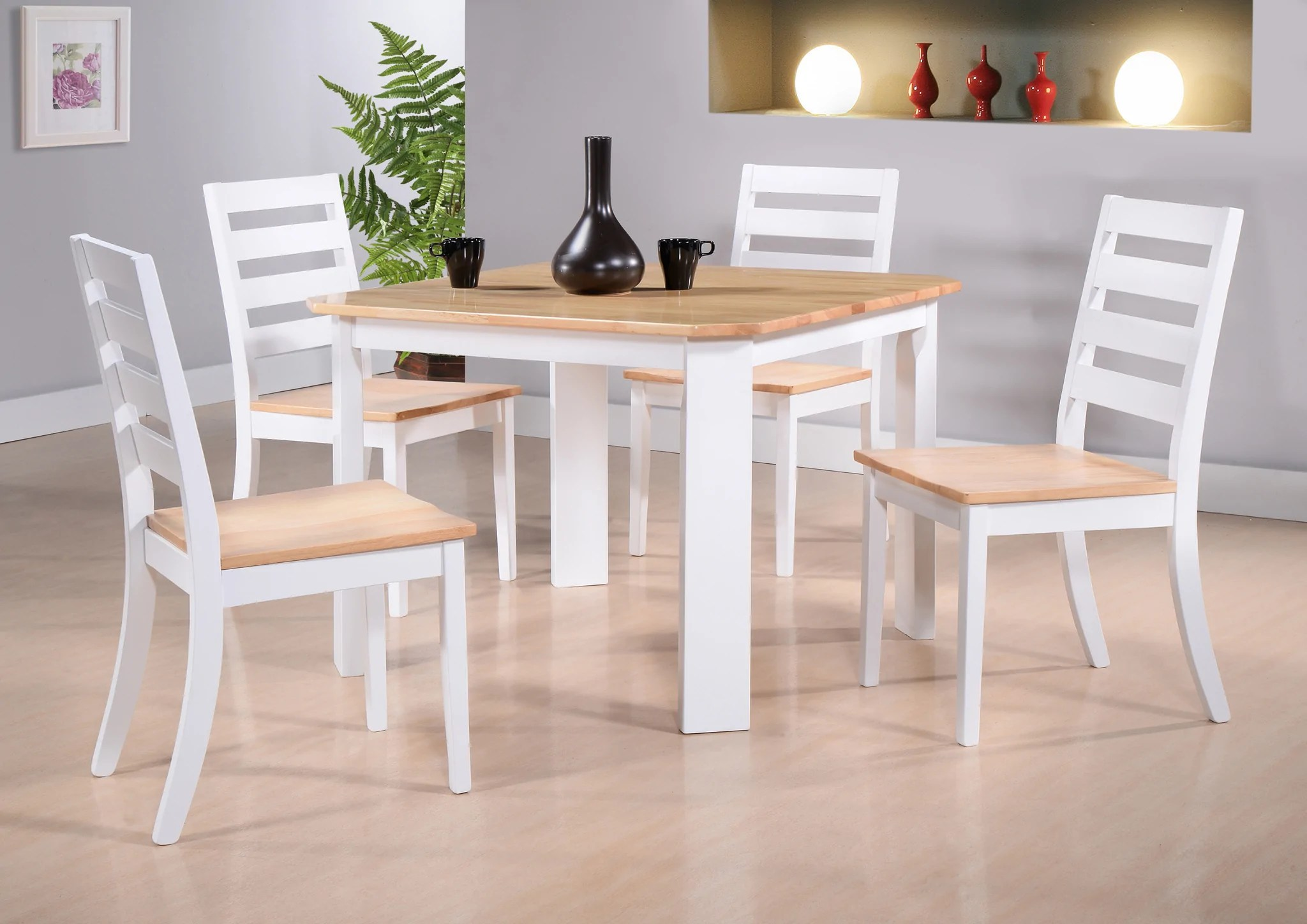 kitchen dinettes grey tile berlin dinette dining table white natural wood contemporary square side chairs pilaster