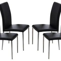 Black Parsons Chair Wedding Covers Preston Leina Kitchen Dining Chairs Vinyl Chrome Metal Legs