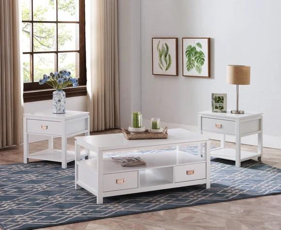 adelaide 3 piece coffee table set white wood
