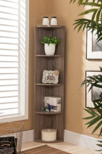 Grey Wood 4 Tier Corner Wall Bookcase Storage Shelves ...