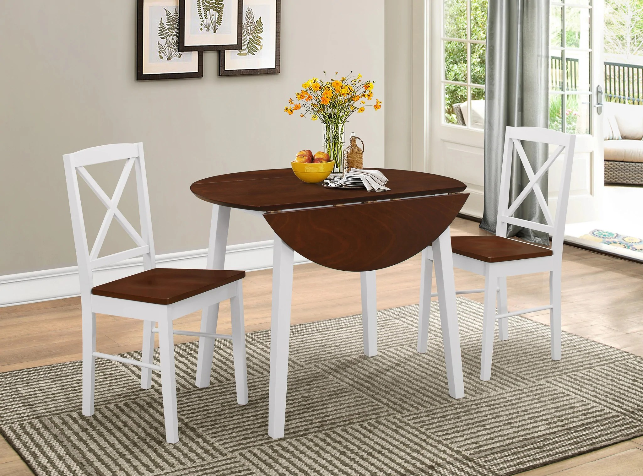 kitchen dinette chairs on casters gaines 3 piece dining set cherry white wood 39 round drop leaf table 2 side