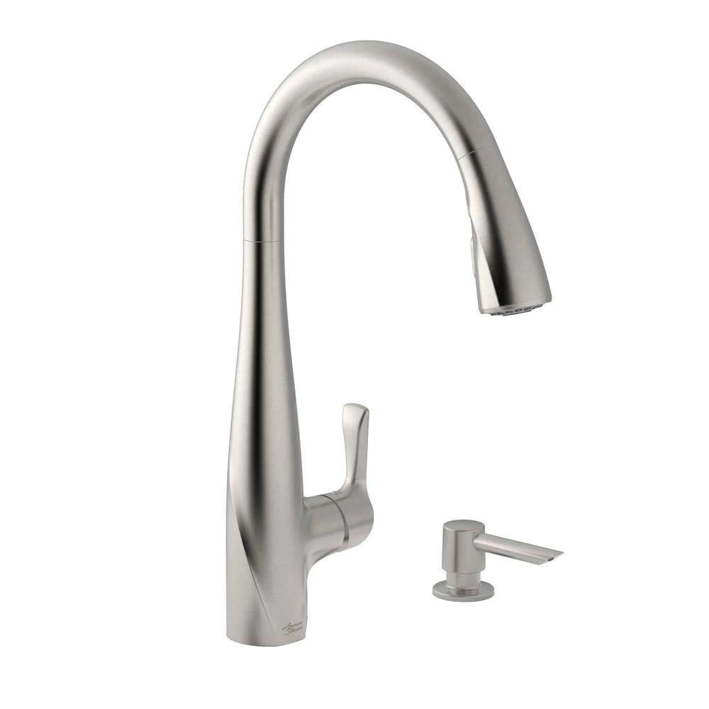american standard lillian pull down sprayer kitchen faucet w soap dispenser in stainless steel