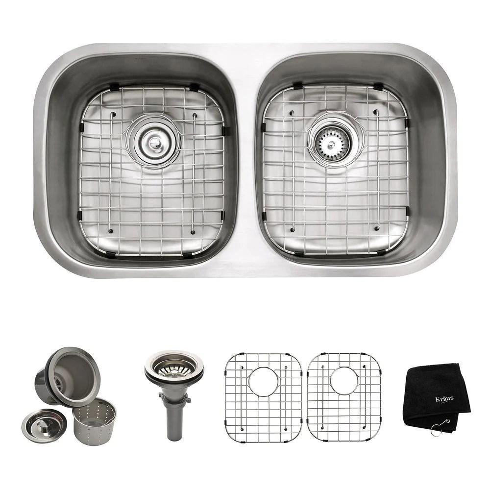 kraus kbu22 all in one undermount stainless steel 32 25 in double bowl kitchen sink