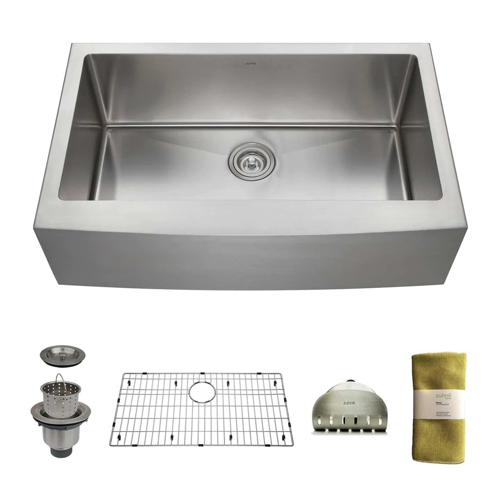 single bowl stainless kitchen sink cheap hotels in negril with zuhne 33 inch farmhouse apron deep 16 gauge stee dream home supply