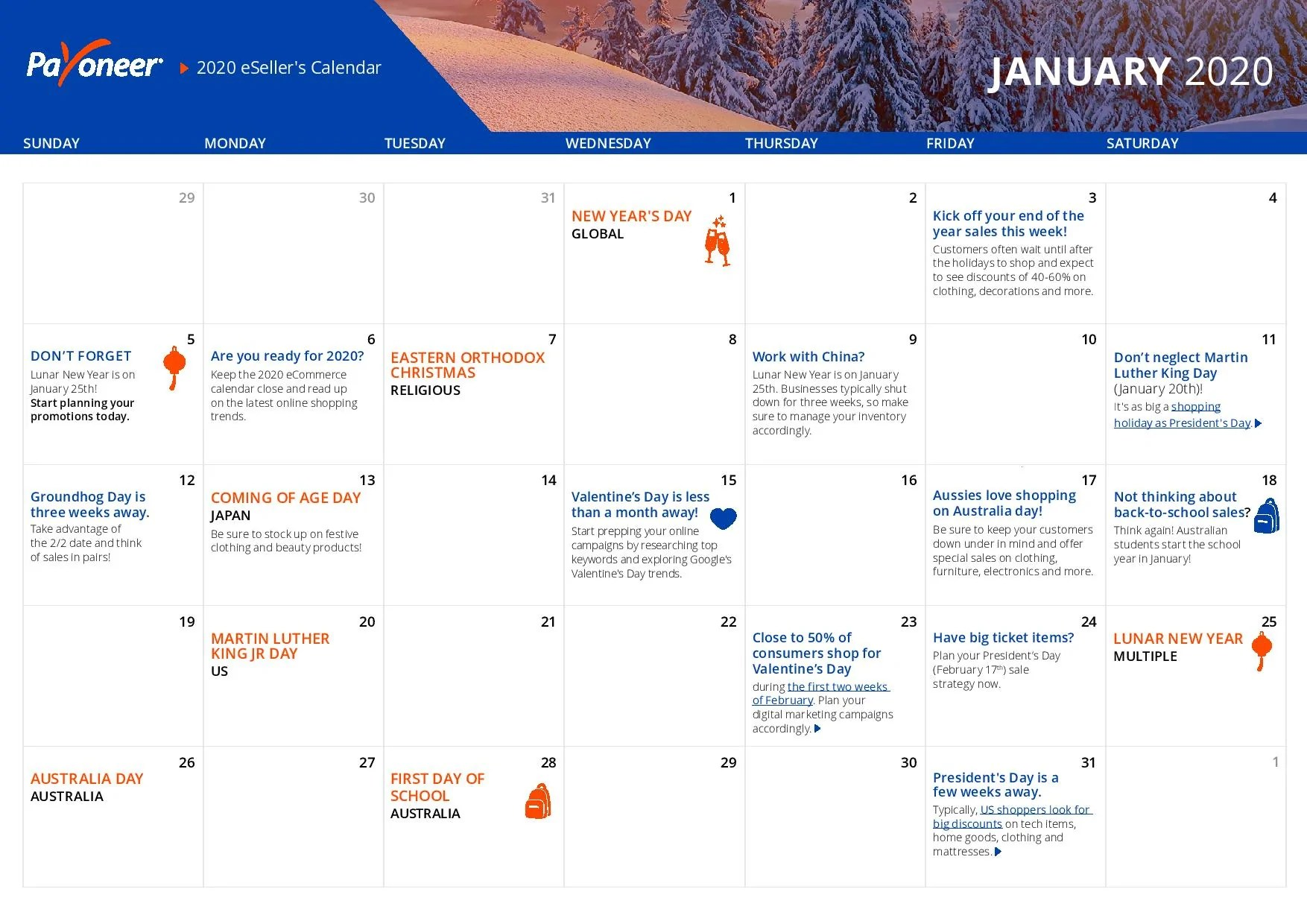 Shopify eCommerce Calendar - January