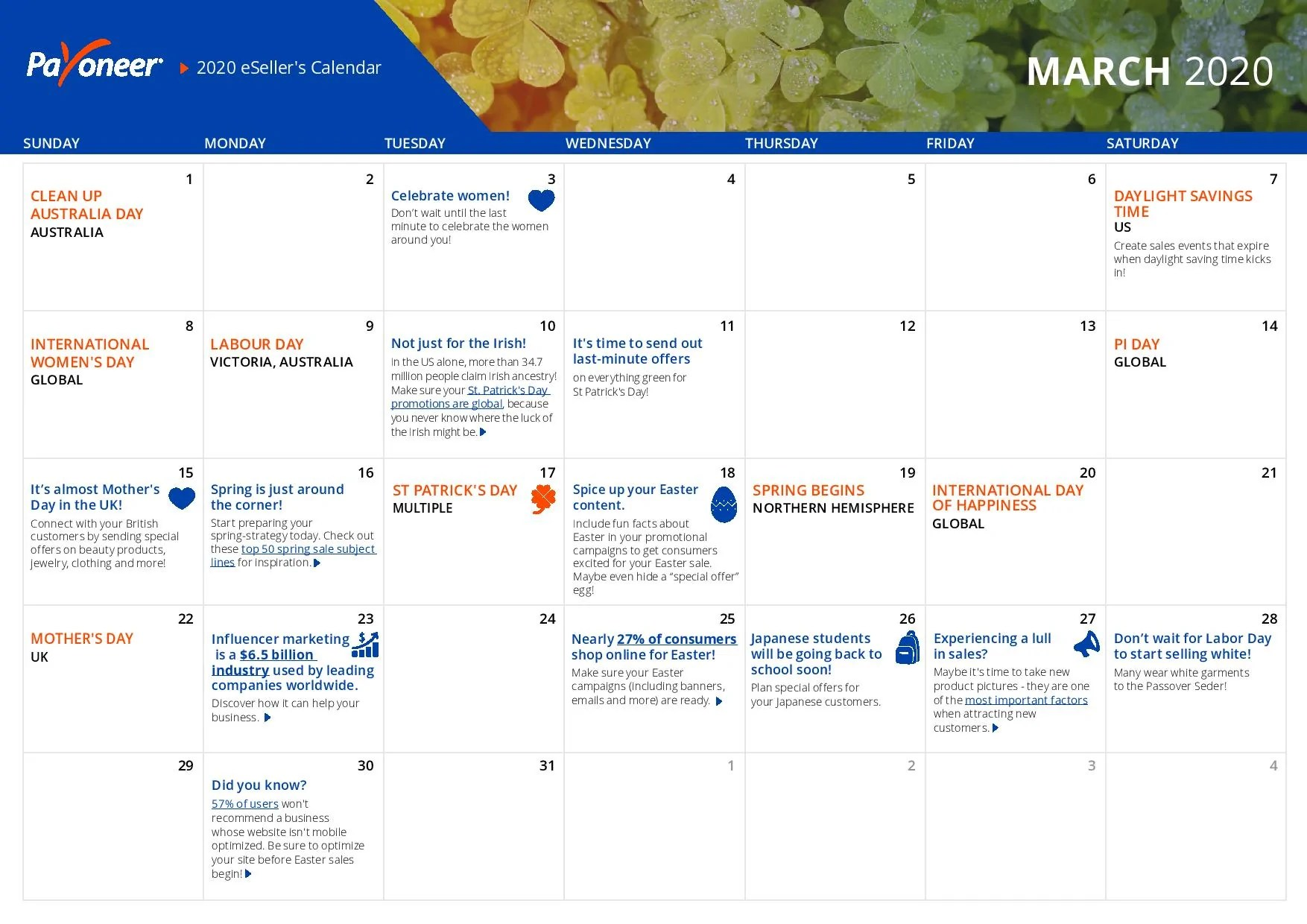 Shopify eCommerce Calendar - March
