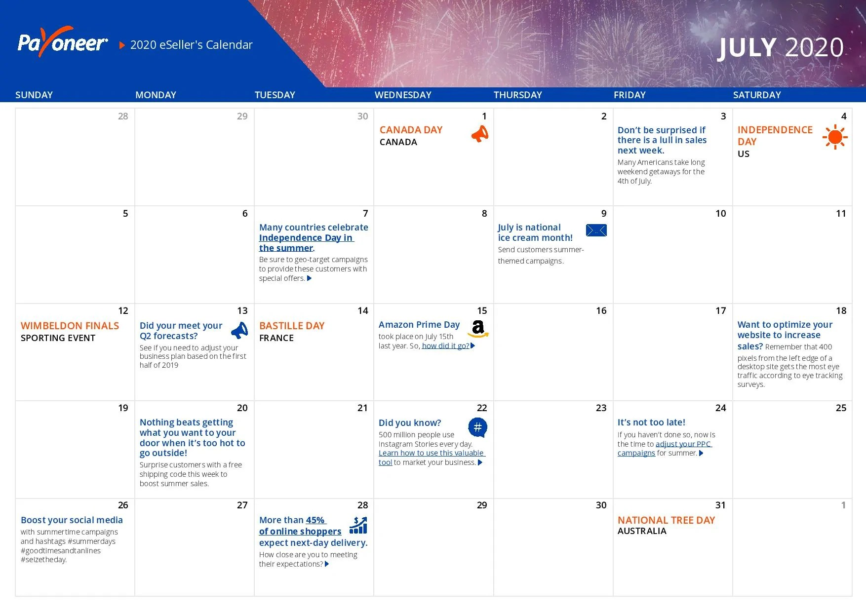 Shopify eCommerce Calendar - July