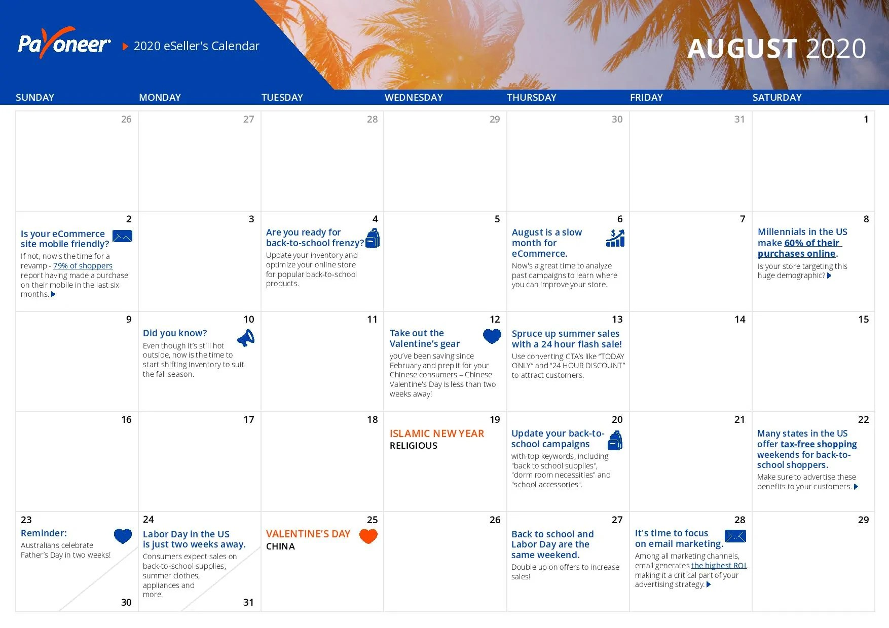 Shopify eCommerce Calendar - August