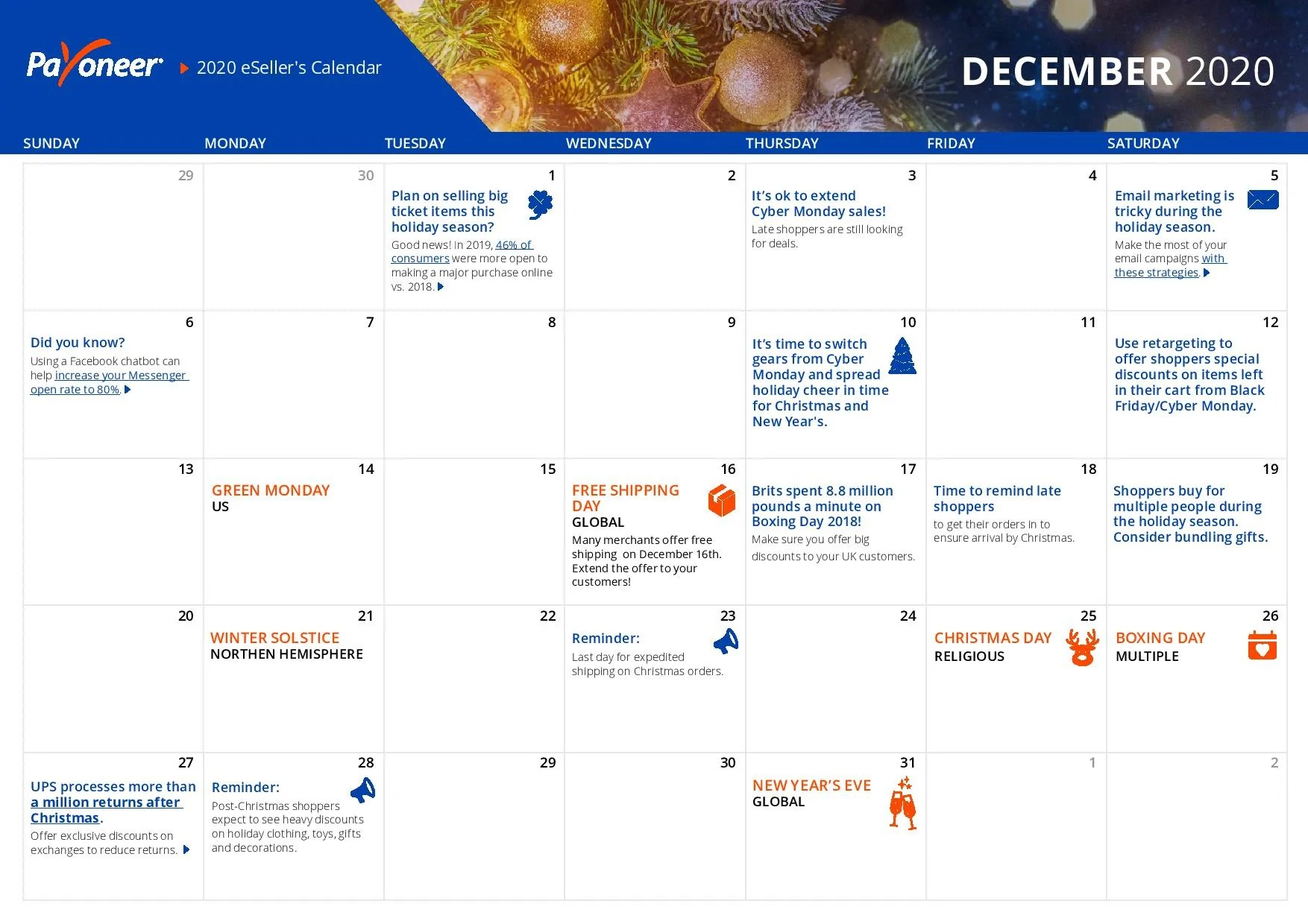 Shopify eCommerce Calendar - December