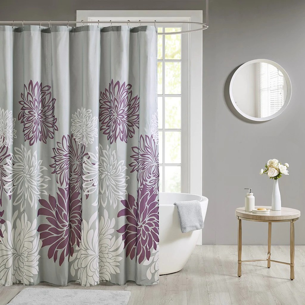 maible printed floral shower curtain purple 72x72 72x72