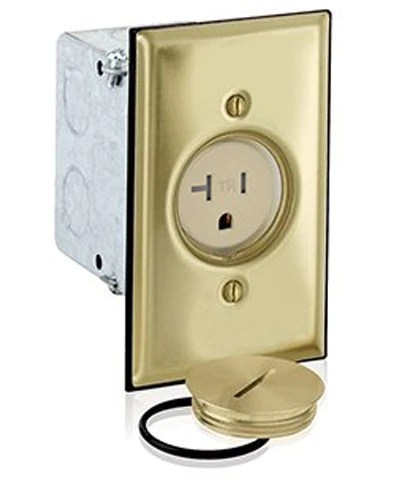Floor Box Cover Plate : floor, cover, plate, 1-Gang, Single, Receptacle, Floor, Brass, Finish,, 20-Amp,, 125-Volt, Leviton