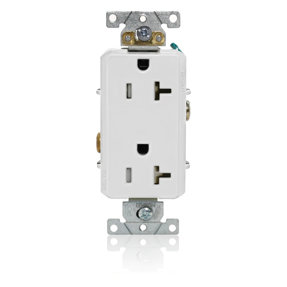 decora plus duplex receptacle outlet heavy duty industrial specification grade tamper resistant smooth face 20 amp 125 volt back or side wire  [ 1000 x 1000 Pixel ]