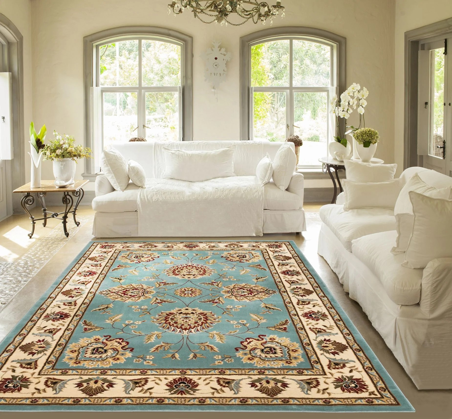 blue persian rug living room check curtains ideas sultan sarouk light floral oriental formal traditional area