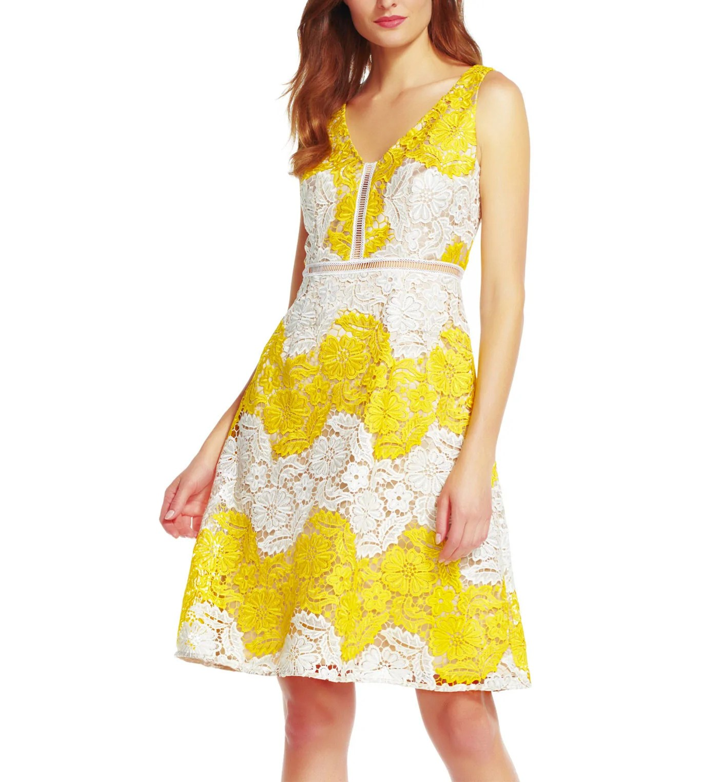 Yellowithwhite Lace Dress - Curatorz