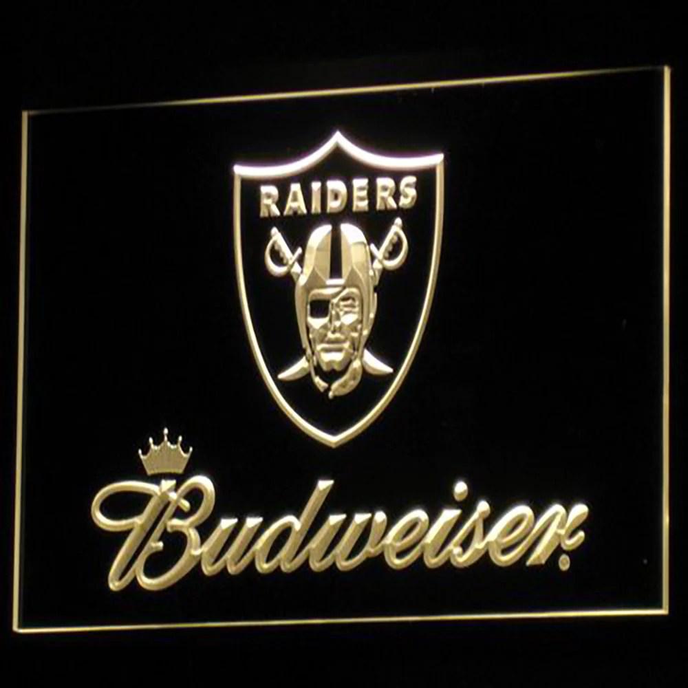 Oakland Raiders Budweiser Logo 3d Neon Sign Gear Gump