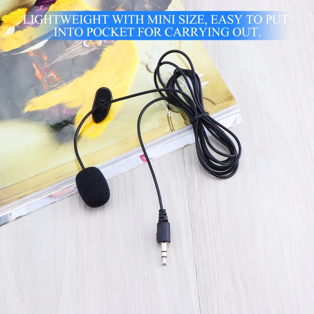 hight resolution of  portable microphone 3 5mm jack clip on lavalier mini wired condenser microphones for smartphones laptop