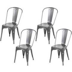 Industrial Bistro Chairs Fairfield Chair Hartleys Design Cafe Gunmetal Grey Set Of 4