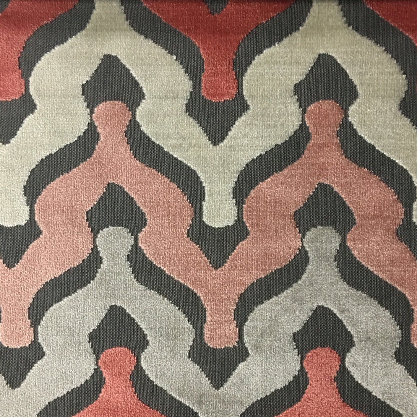 sofa upholsterers leicester florida bed bold chevron cut velvet upholstery fabric by