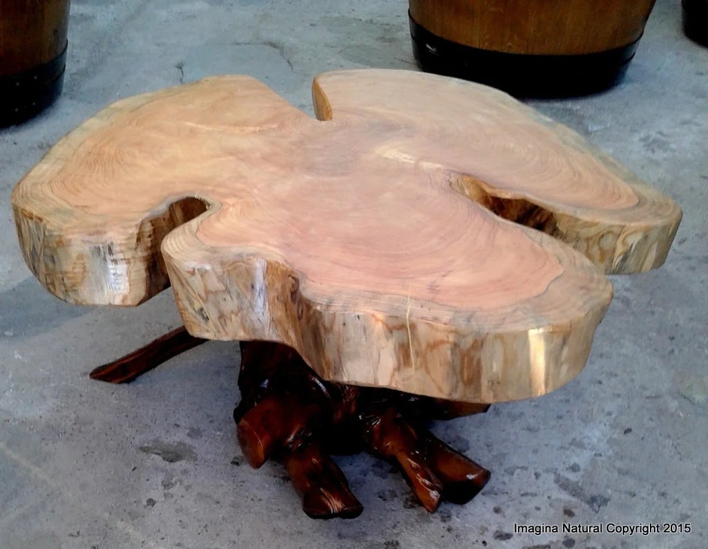 naturally unique cypress tree trunk handmade coffee table log rustic chilean free international shipping included
