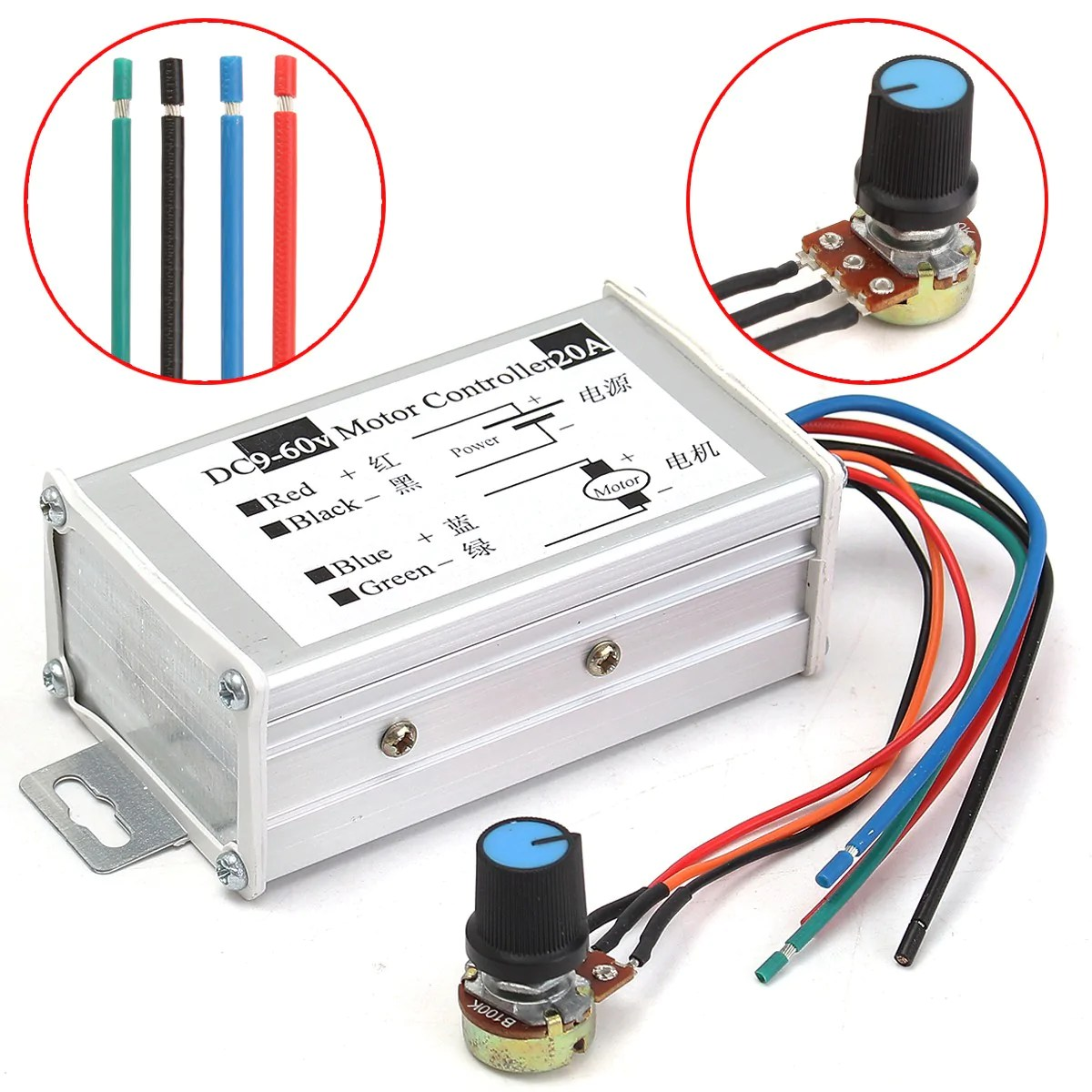 small resolution of 12v 24v 20a max pwm dc motor stepless adjustable speed controller 25khz