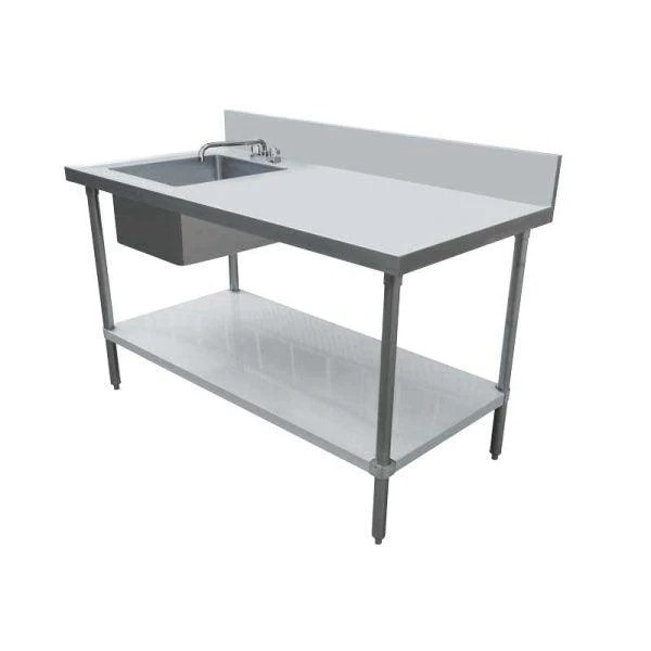 nella 24 x 60 stainless steel table with left sink and 6 backsplash 44259