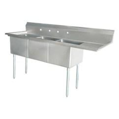24 Kitchen Sink Serrated Knife Nella X24 X14 Three Tub With Corner Drain And Right Board 25260 Online