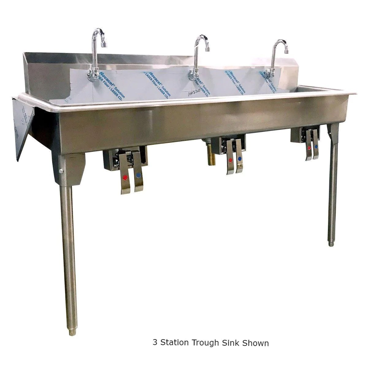 nella 72 x 14 x 7 four station trough hand sink with knee pedals and spouts