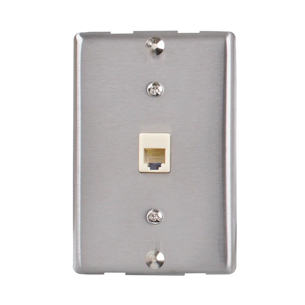 medium resolution of universal wall phone jack silver tw1001wps