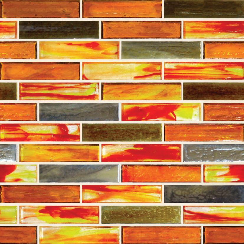 """Hot Planet 1"""" X 4"""" Ln0015 Hirsch Mosaic Glass Tile"""