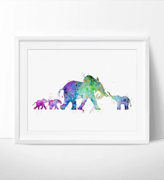 elephant watercolor print elephant