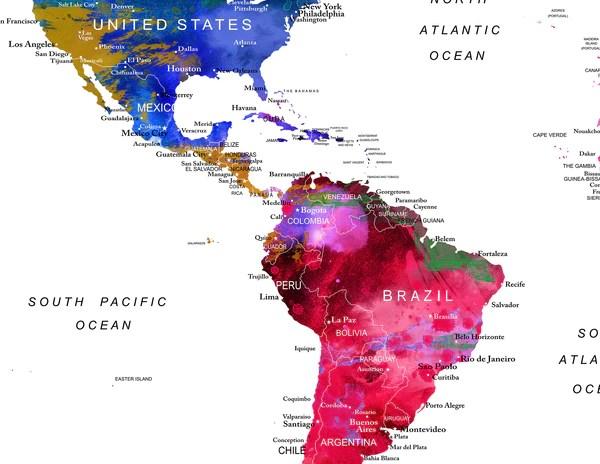 world map art world