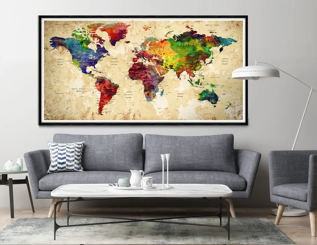 highly detailed world map art world map wall art world map large world map poster print l12