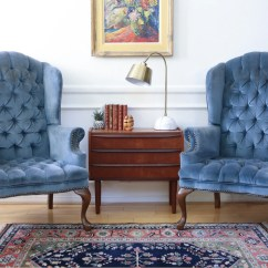 Navy Blue Wingback Chairs Woven Outdoor Chair Hollywood Regency Vintage Tufted Velvet Arm