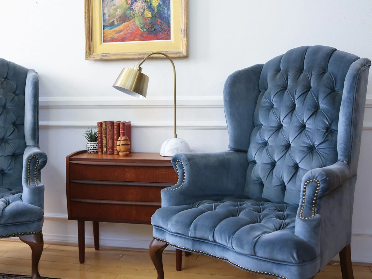 Navy Blue Wingback Chair Hollywood Regency Vintage Tufted Velvet Wingback Arm Chair