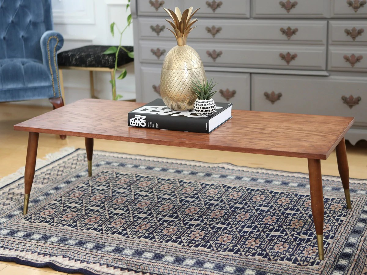 vintage mid century modern coffee table with brass legs from canada no100