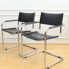 Mart Stam Chair Rug Under Office S34 Chrome And Black Leather Chairs A Pair No