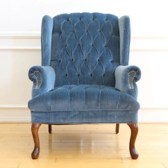Navy Blue Wingback Chairs White Fabric Dining Vintage Tufted Velvet Chair No 630