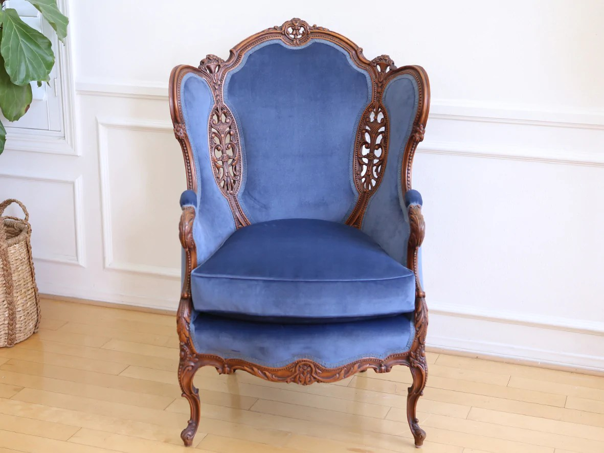 Blue Velvet Wingback Chair Mid Century Vintage Tufted Velvet Wingback Chair Navy Blue