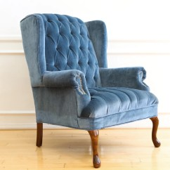 Navy Blue Velvet Club Chair Chairs With Footrests Vintage Tufted Wingback No 630