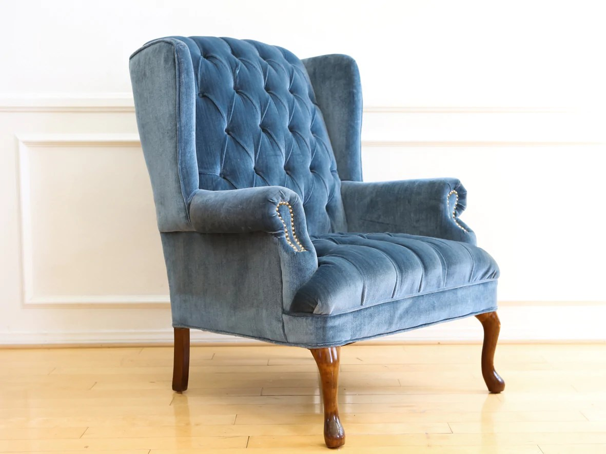 tufted blue chair office quikr chennai vintage navy velvet wingback no 630