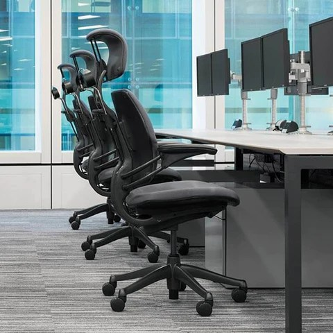 freedom task chair with headrest covers in johannesburg humanscale quick ship free gift side view group