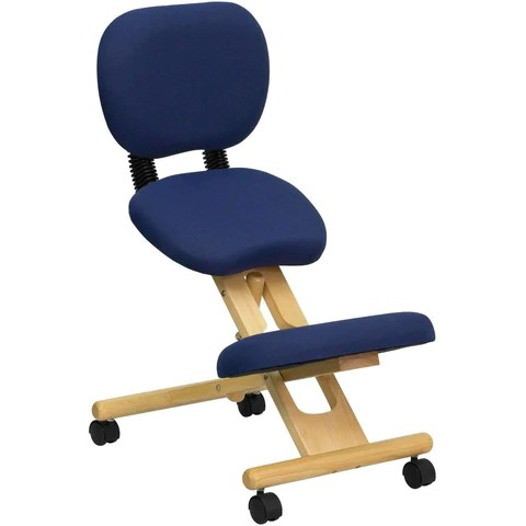 posture chair demo folding auction ergonomic kneeling in with reclining back mobile wooden