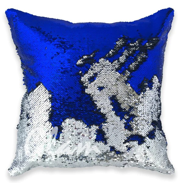 Blue  Silver Reversible Sequin Glam Pillow  Glam Pillows