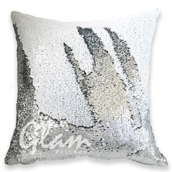 White  Silver Reversible Sequin Glam Pillow  Glam Pillows