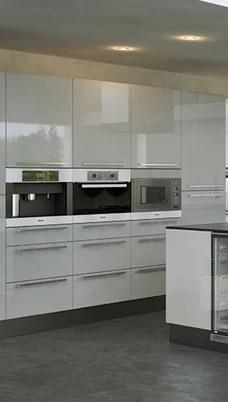 grey high gloss kitchen doors Firbeck Supergloss Light Grey High Gloss Kitchen Doors – Just Click Kitchens